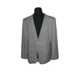 Giorgio Armani Silk-Wool Black Ivory Blazer 48
